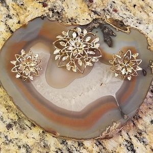 Vntg Sarah Coventry brooch & clip on earrings GUC